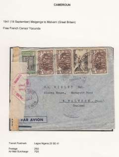 (French Cameroons) Free French Africa in World War II, dual censored cover from Maiganga to Malvern UK, franked 2f 50 ordinary + 7f 25 airmail surcharge, via Lagos 25/9/41, sealed Free French and Nigeria censor tapes, the latter tied by nice strike of red hexagonal ?Passed by Censor 11 Nigeria? censor mark, also Free French 'Censor Yaounde' censor mark. Uncommon origin, Maiganga is 96 miles southeast of Fort Lamy and Yaounde is 600 miles from Lagos. Likely Sabena from Leopoldville to Lagos, then BOAC or sea to UK. Between August 1940  and the summer of 1943 , the heart of Free France was located, not in London, but in Chad, Cameroon, or Oubangui-Chari (modern-day Central African Republic).