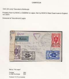 (French Cameroons) Free French Africa in World War II, dual censored cover from Yaounde to Edinburgh, franked 11f, sealed Cameroon censor tape tied by pointed oval 'Ouvert Par L'Autorite Militaire' censor Mark, also Nigeria violet triangle sensor Mark and black circular 'Territoire du Cameroun Controle' hs, ms  'Via Lagos'. Likely flown BOAC or Sabena to Lagos, then BOAC West Coast route to England via at Lisbon. Between August 1940  and the summer of 1943 , the heart of Free France was located, not in London, but in Chad, Cameroon, or Oubangui-Chari (modern-day Central African Republic).