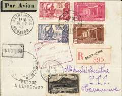 (French Reunion) Free French Forces Aeriennes Francaises Libres, F/F Reunion to Madagascar, carried on the reopening of the Reunion-Madagascar-Algeria service, registered (label) cover mail franked 6F, red framed 'Forces Francaises Combat antes/Reunion-Madagascar/ 20 December 1943', black circular 'Controle Postale' censor mark.
