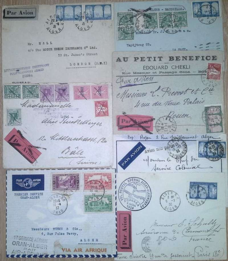 (Collections) North Africa, Algeria, seven covers 1930-34, comprising 1930 flight organised for the Fetes Aeriennes d'Auvergne, Algiers-Clermont-Ferrand, special cachet; 1931 Bone- Rouen bs, etiquette cancelled with Marseille black cross Jusqu'a; 1931 Algier-La Haye ( Netherlands) bs, via Alger Gare and Marseille Gare, etiquette cancelled with Marseille black cross Jusqu'a; 1937 F/F new Air Afrique service Algiers-Oran, bs, and return, four line cachet. Also 1930 Oran-Bale (Switzerland) and 1931 Algiers-London, both prepared for airmail but underpaid, each with nice strike 'Affranchisement Insufficiant pour Transporte Aerien'; and a 1934 Algiers-Marseille delayed through bad weather and flown on later flight with ' Avion non parti' cachet. Attractive covers, all with fine strikes of cachets and directional hs's. Images.