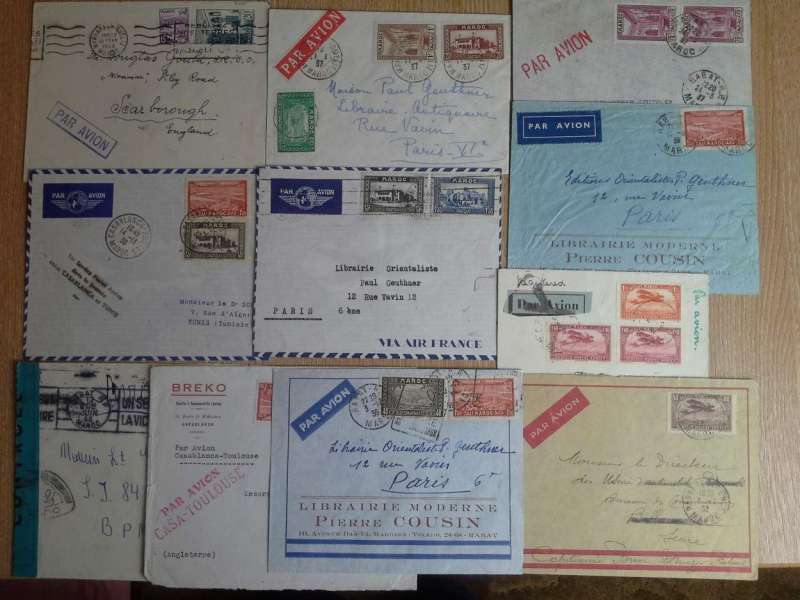 (Collections) Morocco, eleven airmail covers including 1932 Aeropostale ANA2 registered Casablanca-Argos, Marseille transit cds, franked C7+C8 pair, etiquette cancelled Marseille black cross Jusqu'a; 1932  Aeropostale ANA11 Rabat-Billancourt bs, franked C6; 1934 Casablanca-Toulouse, fine strike red two line 'Par Avion/Casa-Toulouse' hs; 1938 F/F Casablanca-Tunis bs, cachet, 1944 World War II censored cover Rabat to service location B.P.M.6. sealed black/ blue green Morocco censor tape tied by Morocco pointed oval censor mark. Images.