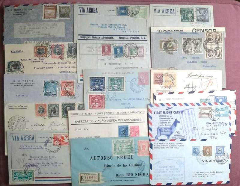 "(Collections) South America, collection of 26 airmail covers, 1926-1948, including 10 F/F from Argentina, Paraguay, Brazil, Peru, Uruguay and Ecuador amongst which are 1926 Junkers Sales Mission takes over the Trans Rio de la Plata service Rocha -Montevideo, 1930 pilot signed Buenos Aires to Miami, 1930 Rio de Janeiro to La Paz with attractive 1927 ""Coreo Aereo/Condor"" yellow cross etiquette, 1934 first DLH catapult flight Rio de Janero-Berlin, 1938 Rio de Janero-Asuncion and return, 1948 Lima to Houston, also censored, registered, interesting directional hs, attractive frankings with clear postmarks and flight cachets.Images."