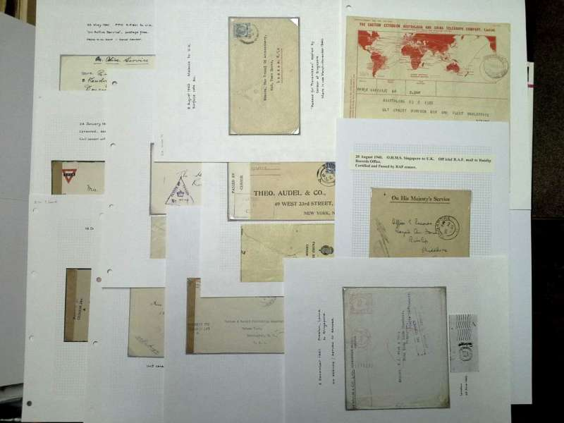 (Collections) Singapore WWII, six censored 1940 airmail covers including  FPO SP 501 to UK rated 55c naval tombstone censor; FPO SP 501 to UK rated 55c RAF censor; Singapore to UK franked $1+5c x2 'passed by framed naval censor' with two 'Malaya Patriotic Fund' labels verso (the cover has some corner damage but labels intact); Singapore to UK rated 55c opened by Singapore censor; OHMS cover to RAF Ruislip Depot, certified and signed army censor mark, Singapore to UK rated 55c with fine strike unusual violet framed 'No 1898' alongside crown military censor mark. Image.