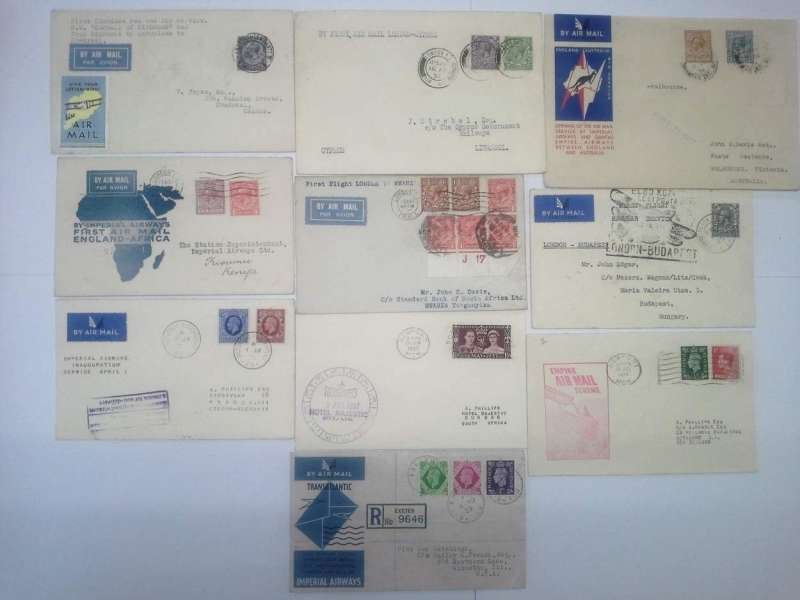 (Collections) Great Britain, 10 first flight covers, 1931-39, including 1931 May 7, London-Canada, first combined sea and air service S.S. Duchess of Richmond and from Rimouski by aeroplane-Montreal bearing a 'Give your letter wings' etiquette on front and a 'Navy Week Portsmouth August 1st-8th' on the back; 1931 Feb 27 map covers London-Kisumu 10/3 and London-Mwanza 10/3; 1932 Apr 16 London-to Cyprus; 1934 imperial Airways kangaroo cover London-Melbourne 22/12; 1935 Apr 2 London-Budapest cachet; 1935 Apr 1 London-Prague; Empire Air Mail Scheme 1937 Jun 25 London-Durban and 1938 Jul 23 London-Auckland both with cachets; 1939 Aug 4 Imperial Airways London-New York 7/8. Nice lot, all fine. Images.
