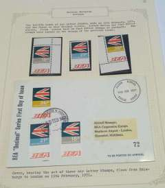 (GB Internal) British European Airways air letter stamps, twelfth issue, 15 Feb 1971, official cover flown FDI Edinburgh-London flown during Postal Strike and bearing the set of 18p, 21p, 26p air letter stamps, also unmounted mint set of three 10d, 1/5d and 2/2d.