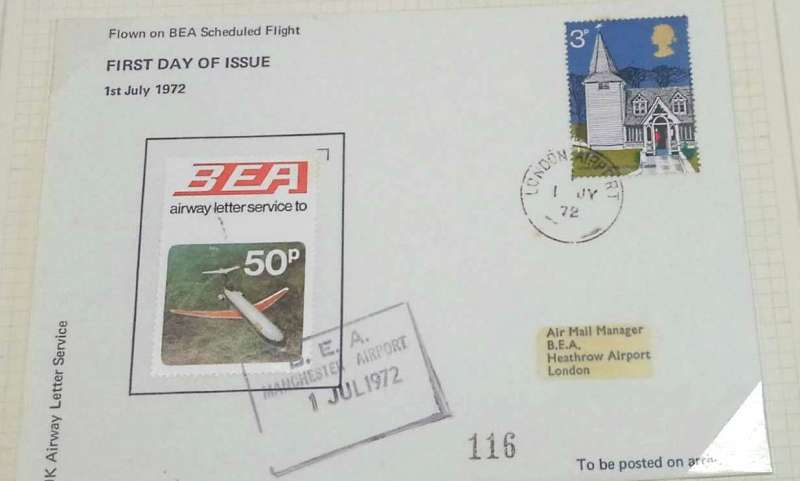 (GB Internal) British European Airways air letter stamp, thirteenth issue of one single stamp, 1st July, 1972 official cover flown FDI Manchester-London bearing the 50p single issue.