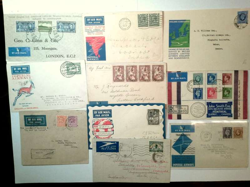 (Collections) Imperial Airways, 20 first flight covers, 1931-1939, including 1931 England-Australia 'all the way' Christmas flight, London-Mwanza, London-Cape Town experimental Christmas flight, Kisumu-Cape Town, Khartoum-London, Mwanza-London, and Athens-Khartoum (some flap damage); 1932 London-Sharjah souvenir cover, London-Limassol, Cyprus IAW Airways 'Egypt/Iraq/India vignette, Cape Town-Johannesburg, and London-Madras via Karachi; 1933 London-Coonoor, India; 1936 Lagos-London, Kano-Oshogbo, and London-Malmo; 1938 EAMS Cape Town-London; 1939 England-Canada registered cover franked 1/6d including KEVII 1936 set of 4, London-New York, and New York-London. All good/fine with appropriate cachets and markings. Images.