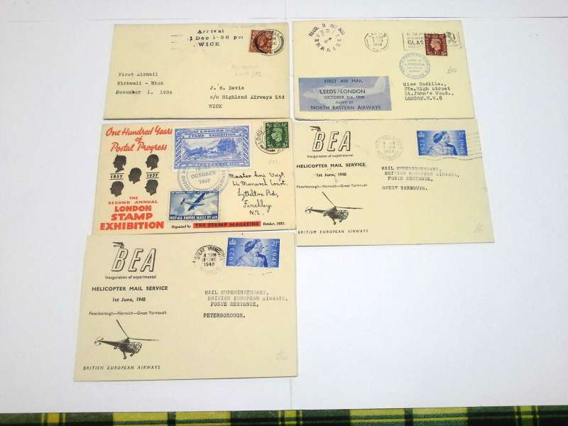 (Collections) Great Britain collection of  six British internal first flights, 1933-1953, comprising 1933 25/11 Provincial Airways Southampton to Plymouth 3d semi official stamp; RAS1934 20/8 Liverpool to Southampton official cover;  1934 1/11 F/F new London to Liverpool service 1/11; 1938 3/10 North Eastern Airlines Leeds to London official souvenir cover; 1948 1/6 BEA first official helicopter mail Norwich to Peterborough; 1953 20/10 extension BEA airway letter service to Channel Islands, Guernsey to London with first day issue of 6d+1d air letter stamp on official BEA cover, fine to Very fine, image.