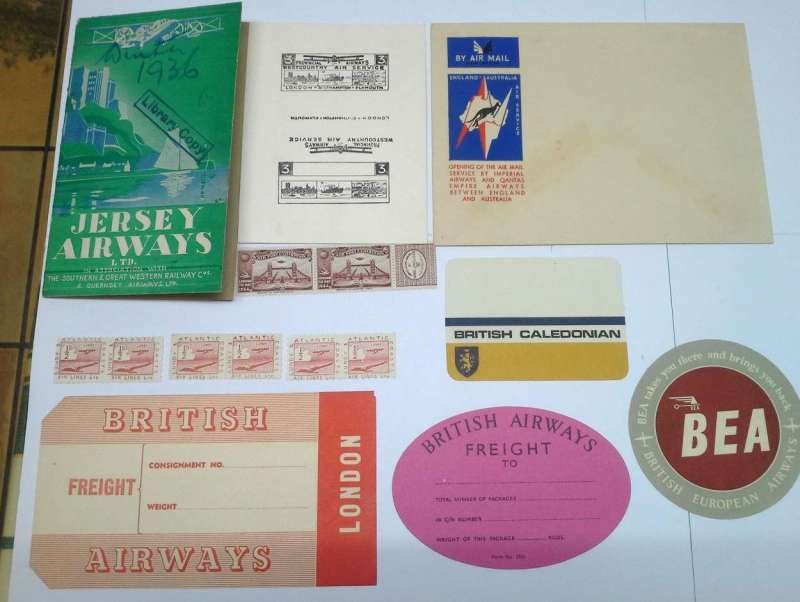 (Collections) Great Britain, early airlines, gone but not forgotten, collection of 9 items of ephemera comprising Jersey and  Associated Companies 1936 winter timetable detailing 16 services, 24pp,15 x 10 cm, illustrated, library copy, Provincial Airways 3d black proof on white card, 1934 Apex purple Expo vignette pair, Lundy and Atlantic airlines six mint 1/2d stamps 'broken cloud x2, marginal pair x 2, 'sunspot' in sea X 2, 1934 unused IAW/Qantas Kangaroo souvenir envelope for the England- Australia service, British Airways oval and rectangular luggage labels, British Caledonian luggage label. All fine. Images.