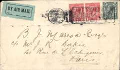 (GB External) London to Paris, bs fine strike Paris Distribution 25.X.1922, plain cover franked 2d+4d, blue green/black P25 airmail etiquette, Likely Handley Page Transport or Instone Airline. Non invasive closed tear LH edge and some rough opening verso. See images.