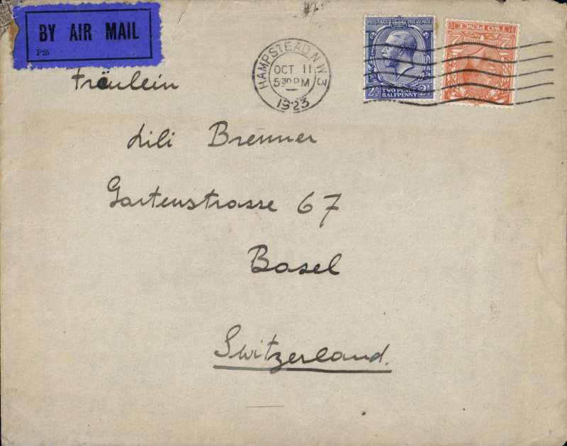 (GB External) London to Basle, no arrival ds, plain cover franked 2 1/2d + 2d air, dark blue/black P25 airmail etiquette, likely Handley Page Transport. Image.
