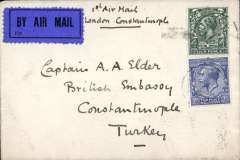 (GB External) Scarce first acceptance of UK mail for Constantinople, bs 20/4/27, by the new air route to Paris by IAW, Zurich-Belgrade by rail, Belgrade-Bucharest-Sofia by DLH, and Sofia-Constantinople by rail. Plain cover correctly franked 4d air fee + 2 1/d postage, dark blue/black P25 airmail etiquette, ms '1st Air Mail/London-Constantinople'.  An earlier route, went from Zurich to Prague by rail, Prague-Vienna-Budapest by DLH, and Budapest-Constantinople by rail  from 16/7/26-14/4/27. Both the earlier and the revised routes were short lived. The latter was suspended on 30/9/27.