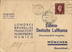 (GB External) Sabena/DLH, F/F London-Brussels-Munich, attractive souvenir PC franked 1 1/2d, signed by the pilot.