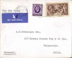 (GB External) London to Valpariso, bs 10/3, plain cover franked 2/6d seahorse + 3d, typed 'Via New York', correctly rated for 2/3d air surcharge for carriage via New York and OAT by US internal and external airmail service.