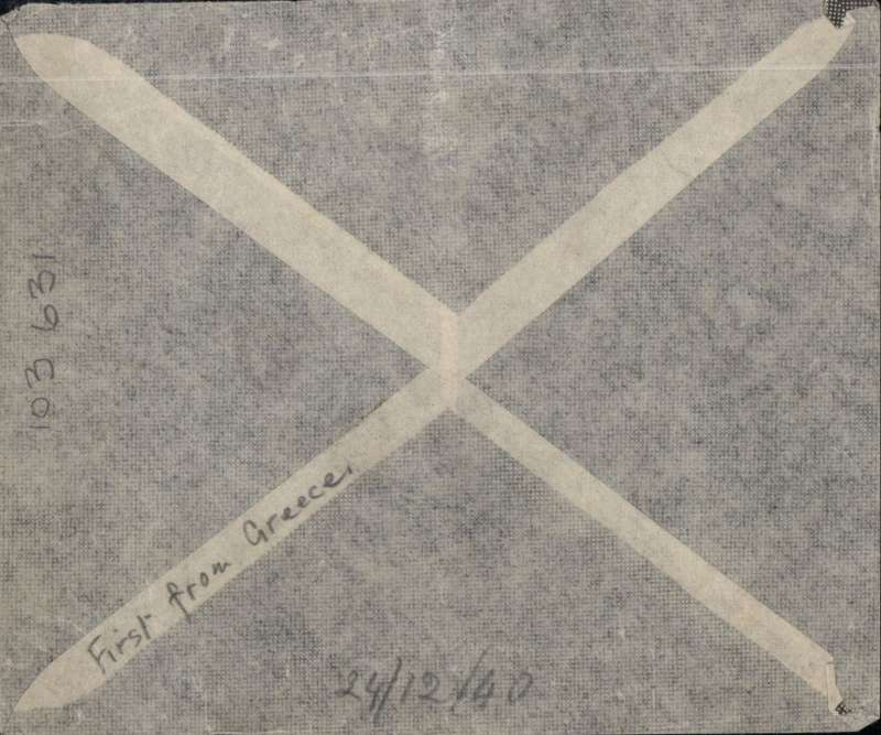 (Egypt) Greece Expeditionary Force, censored On Active Service Free Christmas Air Mail, stampless, fine strike FPO/171/9 DE 40, addressed to Scotland, signed over Unit Censor hs.