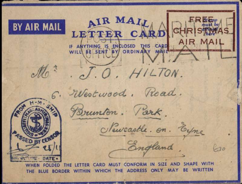 """(GB External) Airmail from ships of the Royal Navy, air  letter posted and censored on the ship, then blue tomb stone censor mark applied,  fine strike red boxed """"FREE/CHRISTMAS/AIR MAIL"""" instead of postage stamp, addressed to England. Image."""