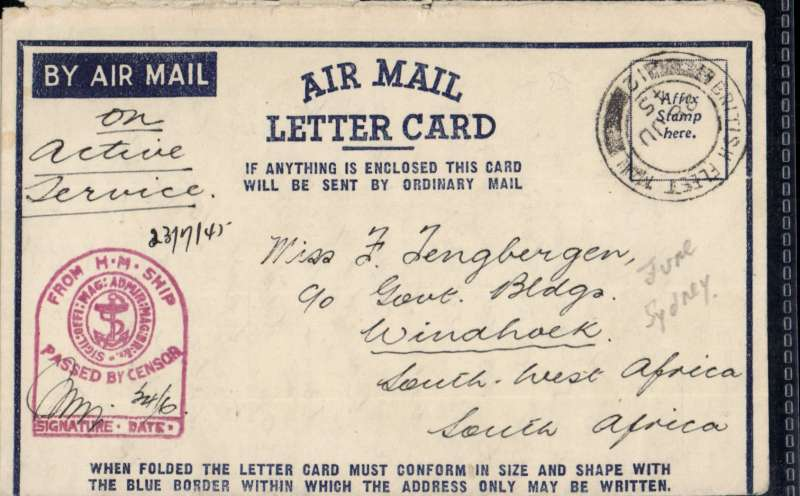 (Australia) Airmail from ships of the Royal Navy, air  letter posted and censored on the ship, then red tomb stone censor mark applied, franked 'British Fleet/12/28 JU/45' (Sydney)  instead of postage stamp, addressed to South Africa. Image.
