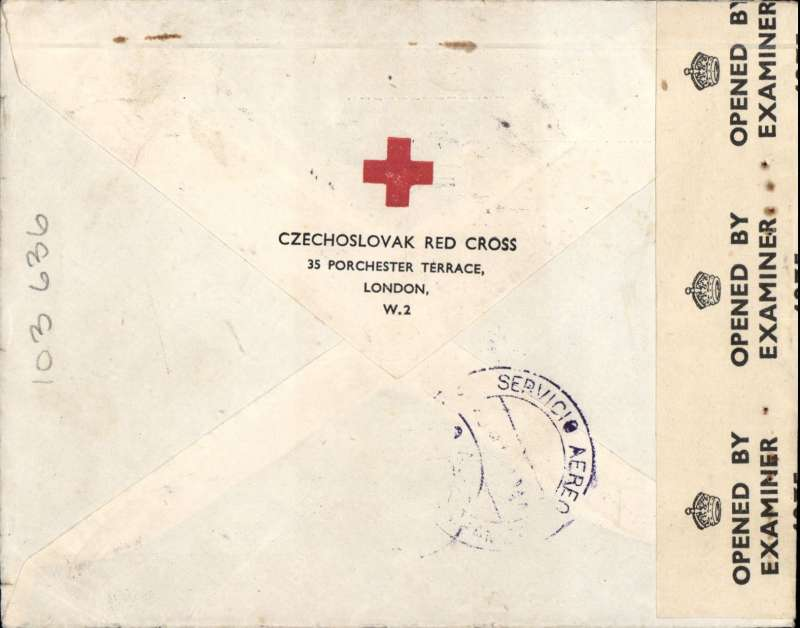 (World War II) Czechoslovak Red Cross London to Cochabamba, Bolivia, bs, plain cover franked KGVI 2/6d +1/-., sealed Bermuda OBE 4275 censor tape. Correctly rated for 3/6d for carriage all the way by air to South America via Lisbon, New York and OAT by US internal/external airmail service.