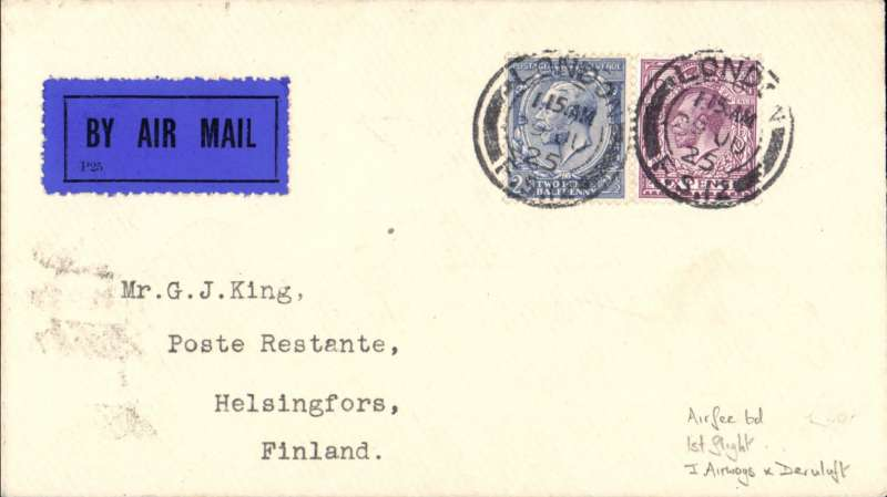 (GB External) Imperial Airways/Derluft. F/F London to Finland, bs 2/7, via Berlin 30/ transit cds, plain cover correctly franked 2 1/2d post + 6d air fee, canc London FS/ 29 Jun 25 cds. Image.