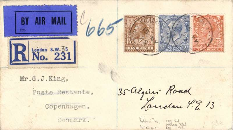 (GB External) F/F 'all air' London to Copenhagen, bs 18/5, registered (label) cover franked 5 1/2d +4d air fee, dark blue/black etiquette. Service suspended 3/10/25.