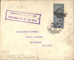 (GB External) Handley Page Transport , London to Paris, 'CA' logo on flap cover franked 5d, canc London 20 Jun 21, fine strike purple framed 'Insufficiently Paid For/Transmission By Air Mail' hs. Air fee 4d  from 18/4/21 to 30/9/21, postage 3d from 13/6/21. Image.