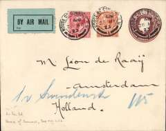 (GB External) The Daimler Airway, House of Commons airmail with embossed flap to Holland, franked 2 1/2d + 2d air fee, canc fine strikes 'House of Commons/28 May 23' double ring cds's, pale green/black airmail etiquette.