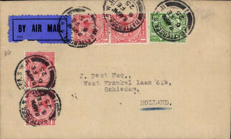 (GB External) Imperial AW, London to Holland, bs, plain cover franked 2d postage + 2 1/2d air fee, dark blue/black etiquette.