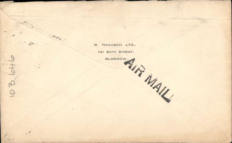(GB External) Instone Air Line, London to Brussels, plain cover correctly franked 2 1/2d postage and 3d air fee (until `13/5/1923), canc Birmingham cds, fine 'Air Mail' hs, blue green/black P25 etiquette. Image.