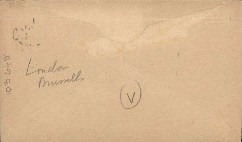(GB External) Instone Air Line, London to Brussels, plain cover correctly franked 2 1/2d postage and 2d air fee, canc Birmingham cds, fine strike re 'Air Post' hs, blue green/black etiquette, typed 'Via London-Brussels. Image.
