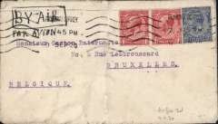 (GB External) Handley Page Transport, London to Brussels, cover correctly rated 2 1/2d (postage) with additional 2d (air fee), canc Richmond 9 Sep 20 mc, ms 'By Air/Par Avion'. Air Mail carried on Brussels route f rom 19/7/20, see REG Davies, British Airways 1919-1939, pub 2005. Cover intact but grubby with no invasive vertical fold and flap tear verso, see image.