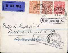 (GB External) Instone Air Line, London to Brussels, bs, plain cover correctly franked 2 1/2d postage and 2d air fee, canc Bournemouth cds, 'Rebut/Onbestelba' hs, dark blue/black etiquette, P25. Image. Francis field authentication has verso.