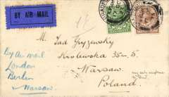 (GB External) Early acceptance of GB airmail for Poland, carried by Daimler Airways from Croydon to Berlin 19/10 via Cologne, then forwarded by night train to Warsaw bs 21/10, Hamburg, bs 5/10, plain cover correctly franked 2 1/2d + 3d air fee, canc Bradford cds, ms 'By Air Mail/London/Berlin/Moscow'. The Berlin extension was opened on 1/5/1923, and was maintained by Daimler until its amalgamation into Imperial Airways on 31/3/1924, see British Airways, An Airline and Its Aircraft, Vol 1; 1919-1939, The Imperial Years, R.E.G Davies, 2005, p12. A scarce item in fine condition.