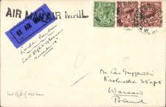 (GB External) Imperial Airways early airmail, London to Warsaw, bs 16/11, via Berlin 15/11, plain cover correctly franked 3d air fee and 2d postage, canc Liverpool cds, ms 'London-Berlin', black 'Air Mail' hs, pale green.black airmail etiquette. Flown to Berlin on thew last flight of the 1925 season.