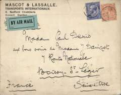 "(GB External) Early cover flown London to France, Boissy-St-Leger 16/9, via Paris 5/11Paris, correctly franked 4 1/2d (2d air + 2 1/2d postage) canc Warrington cds, black/green blue etiquette rated very scarce by Mair over likely  ms endorsement ""By Air"". Carried by Handley Page Transport or Instone Airlines, a nice precursor to Imperial Airways which entered the European network on 1/5/1924. 1cm non invasive closed top edge tear, other wise fine. See image."