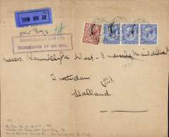 (GB External) Daimler Airway, London to Amsterdam, underpaid cover (18x15cm) franked 9d, ms 'over 3ozs), fine strike 'Insufficiently par for/transmission by Air Mail', black '43' in circle postman's mark. The correct rate should have been 1/3d (4x2d air fee, and postage 2 1/2d overseas + extra 3x  1 1/2d). Nice exhibit item for rate variation.