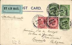 (GB External) Early Imperial Airways, London to Brussels, PC correctly franked 1 1/2d postage and 2d air fee, canc Liverpool cds, blue green/black etiquette, ms  'London-Brussels, Imperial Airways entered the European network on 1/5/1924. PC's are scarcer. Image.