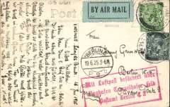 (GB External) Early Imperial Airways, London to Berlin, 19/6 arrival ds on front, PPC  franked 2d air+ 2 1/2d postage, blue green/black P25 etiquette, fine strike red framed three line 'Mit Luftpost.............Berlin C2' receiver on front. Image.