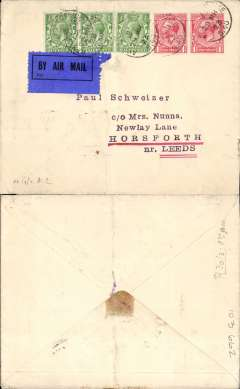 (Germany) The first post-WWI mail carrying flight on a German plane, Berlin- Cologne-London. On 29th March 1923 Franz Piper and Hans Lange flew from Berlin to Cologne where mail was taken aboard after having been cleared through APO S40. The flight was not publicised and the bag contained only 12 covers.  Plain cover addressed to Leeds franked 3 1/2d ,canc 'Army Post Office/S40/29 MR 23' ,also tying dark blue/black P25 airmail etiquette, see Newall pp 53, 234, 235.. Included are a 50 word text on card describing the flight, and a picture of the pilots standing beside their plane 'The Albatross'.  A superb item in fine condition. Image