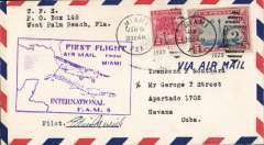 (United States) Edwin Musik signed F/F Miami to Havana, bs 9/1, airmail cover, fine strike violet framed flight cachet, signed by the pilot Edwin Musik. Scarce early signature.