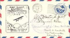 (United States Internal) Ovington CAM 33 F/F Los Angeles/Atlanta, 5c airmail PSE, fine strike F/F cachet , signed by JW Martin,  pilont and Earle Ovington, co-pilot, over the latter's personal cachet.