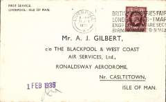 """(GB Internal) F/F eleventh GB Inland Airmail Service, Liverpool to Douglas, official company purple """"1 Feb 1935"""" arrival cachet applied to covers flown to the island and countersigned by WJ Mason, Company Station Superintendent, company envelope specially printed for the occasion, Blackpool and West Coast Air Services."""