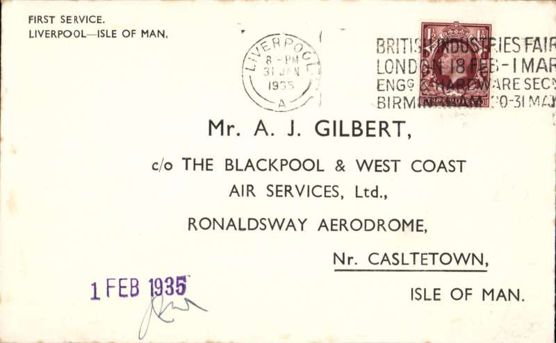 "(GB Internal) F/F eleventh GB Inland Airmail Service, Liverpool to Douglas, official company purple ""1 Feb 1935"" arrival cachet applied to covers flown to the island and countersigned by WJ Mason, Company Station Superintendent, company envelope specially printed for the occasion, Blackpool and West Coast Air Services."