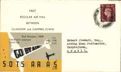 (GB Internal) Scottish Airways F/F Glasgow to Campbeltown air mail service, bs 2/11 11.15am, company cover with logo on flap franked 1 1/2d canc Glasgow 8am, yellow/black publicity label with details of stage flown. The Company gave no advance notice of the date of the first flights, so this item is scarce. Francis Field authentication hs verso.