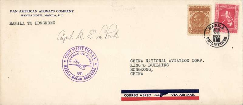 (Philippines) F/F FAM 14, Manila to Hong Kong, bs 28/4, Pan Am Company/Manila Hotel corner cover, franked 52c, canc Manila cds,  typed 'Manila to Hong Kong, fine strike 'Manila-Macao-Hong Kong' F/F cachet, signed by the pilot Capt A E La Porte. Nice item in fine condition.