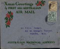 "(GB External) Kingsford Smith's return flight, England to Australia,"" All the Way"" Christmas and New Year flight, London to Melbourne, bs 25/1/32, grey/red/green ""Xmas Greetings"" Australia National Airways souvenir cover, correctly rated 1/4d, canc London FS/Air Mail cds."