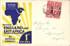 (Kenya) F/F, Kisumu to London, no arrival ds, flown on first return Engand-East Africa service, official yellow/blue 'Rising Sun' cover, franked 60c, Imperial Airways. Exceptionally fine.