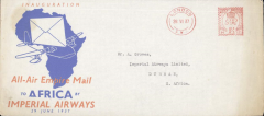 "(GB External) F/F First Stage EAMS, London to Kenya, no arrival ds, scarce blue/orange/grey souvenir cover ""All-Air Empire Mail/to Africa by/Imperial Airways/29 June 1937"", 22x10cm, correctly rated 1 1/2d,"
