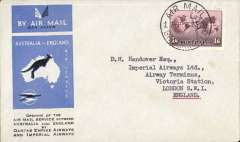 """(Australia) Imperial Airways/Qantas, Sydney-London, fine strike most uncommon IAW violet circular 'Airport of London/Carried on the first regular Australia to England service' arrival cachet, official blue/black/white souvenir """"Kangaroo"""" cover, franked 1934 1/6d, canc Sydney/Air mail cds. Nice item."""