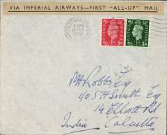 "(GB External) F/F second stage of the Empire Airmail Service, England to Calcutta. bs 1/3,  plain cover franked 1 1/2d, 'Via Imperial Airways First ""All Up"" Mail'."