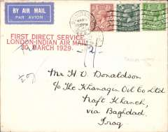 "(GB External) F/F London to Karachi, addressed c/o The Khangin Oil Co Ltd, Naft Kanch (Iraq), bs 6/4, via Baghdad 5/4, franked 6d canc Birmingham cds, fine strike red three line ""First Direct Service/ London Indian Air mail/ 30 March 1929"" cachet. Underpaid, 'Tax Due/Baghdad'. tombstone hs tying stamps and cachet, ms '1/2oz' and ms '-/2/-'. The air fee was increased from 3d to 4d on 30/3/29, the postage fee was 2 1/2d, so this cover was 1/2d underpaid. According to Newall only two covers were carried from London to Baghdad, see p293. A nice 'F/F'/'underpaid' combination."